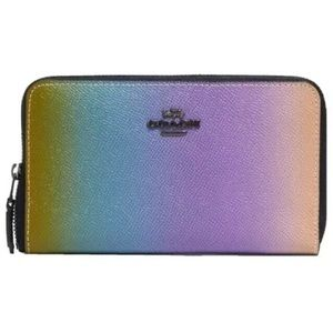 🌴 NEW Coach Rainbow Ombre Summer Leather Wallet